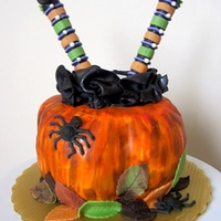 "Witch & Pumpkin Cake. .... and the witch fell into the pumpkin! : ) 6"" vanilla cake filled with chocolate ganache and raspberry preserves carved into a..."