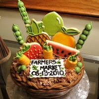 Fruit Basket Cake. Chocolate cake with coffee buttercream. Adorned with fondant pieces and sugar cookies.