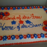 Land Of The Free And Home Of The Brave All buttercream sheet cake for a work party.
