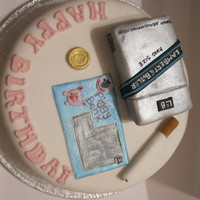 Cigarettes And Scratchcards packet of cigaterrs make from rkt the rest handpainted fondanttfl xx