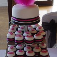 Pink And Black Individual cakes in the Bright pink and black colour scheme