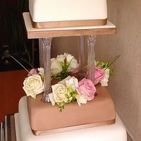 Janet Three tier wedding cake decorated with fresh roses and diamantes