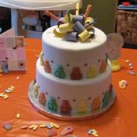 Gummy Bear Themed Baby Shower Cake This is my first stacked cake & my first fondant covered cake. It was a cake I made for my sister-in-law's baby shower. It's...