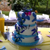Butterfly Cake I did this cake for a Hospice event and their symbol is the butterfly. I was a yellow cake with a strawberry mouse filling between the...