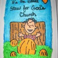 Church Cake this cake was done for my church fall stew, everyone thought it was cute. I wanted to do something that tied in with fall and funny.