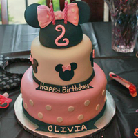"Minnie Mouse Cake Made this cake for a 2 year old's birthday party. The bottom tier is a 9"" strawberry cake with Nutella Buttercream filling. The..."