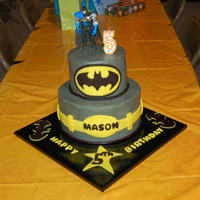 "Batman 6"" and 9"" buttercream with fondant accents. Still just a rookie, but it's getting easier each time. Thank you all for the..."