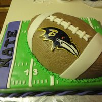 Ravens Football Birthday cake. Vanilla with MMF decorations. Handpainted Raven.