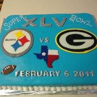 Superbowl Xlv Yellow Cake decorated with MMF