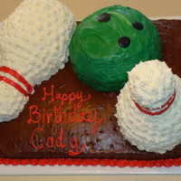 Bowling Cake   Birthday cake, pins made from rice cripy treats, then coverd in buttercream star, bowling ball covered with candy melts.