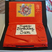Ds Cake  Birthday cake for my 10 year old son, fondant covered, with cheater mario screen from a printed picture of the internet, glued on with...