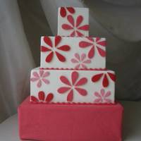 Fuschia Blooms Cake Fondant with hand cut fondant flowers.