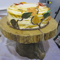 Tree And Leaves Fall Wedding Cake I made this to go with a large cupcake order- each cupcake had a white chocolate leaf on it like on the cake. I liked the way the '...