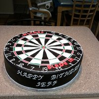 Dart Board Cake This was a pain in the butt to make. As you can see in the photo I forgot the r in birthday but before I gave it to the customer I fixed it...