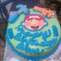 Bob The Builder Birthday Cake fondant with plastic toys
