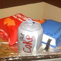Diet Coke, Dorritos, And Book This is made with fondant and gumpaste.