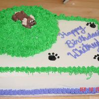 Puppy Party White cake w/BC icing. Friend's little girl is turning 5 and was very very specific about what her cake should look like. Hope she&#...