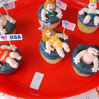 Fourth Of July Swimmers..... Entered these in a 4th of July cupcake contest....they are all BC....got the idea from a Wilton Cupcake book......