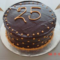25Th Birthday Choc cake w/ choc ganache filling & icing and BC dots ---Big hit!