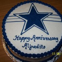 Dallas Cowboy Anniversary Cake This was ordered by a wife whose husband is a cowboy fanatic. According to her he said it was his best gift.