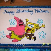 Spongebob This is for a one year old little boy, white cake with buttercream frosting.