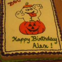 My Baby Boys 1St Birthday Cake A cute ghost popping out of a pumpkin