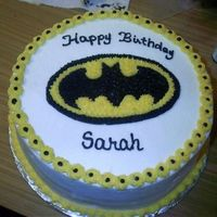 Batman Cake For a teenage girl that likes Batman. Drawn on and filled with a star tip.