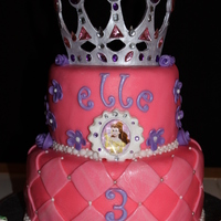 Princess Cake 8 and 6 in WASC with vanilla buttercream. Cricut crown gumpaste. Princess birthday was inspired by cake on CC and sent the picture. Fun...