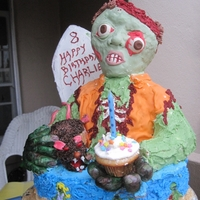 Zombie Surf Cake Zombie surf cake for a friends 8 year old zombie obsessed boy. Had a lot of trouble with this guy. Head is rkt covered in fondant, only...