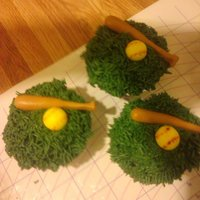 Softball Cupcakes chocolate cupcakes with cream filling and a vanilla buttercream grass. bat and ball r fondant