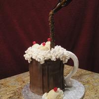 "Root Beer Float  Made this for my niece. She wanted a root beer cake! I used 5 8"" layers with strawberry filling. The ice cream scoops are fondant..."
