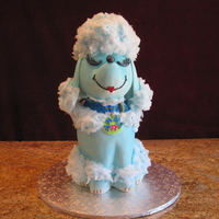 "Blue Poodle The ""Blue Poodle"" is constructed using one 10"" cake , one 9""cake ,one 8""cake and a the wonder mold covered with..."