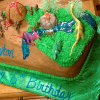 Dinosaurs Theme My friends son is crazy about dinosaurs, he was thrilled when he seen this cake I made for him