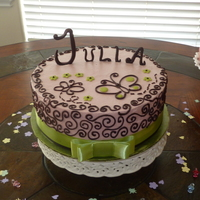 Pink & Brown Scrollwork Cake Strawberry cake with chocolate ganache scrollwork and modeling chocolate letters. For a friend's baby shower. Made to match the...