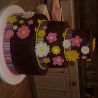 Chocolate & Neon Cake Yellow-Chocolate-Yellow cake covered in chocolate ganache and gumpaste flowers. The first cake I ever decorated. For my sister-in-law'...