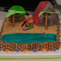 Beach Birthday Cake Birthday cake for my friend's 7 year old. Half chocolate, half yellow cake. Marshmallow fondant with gumpaste figures. The volcano is...