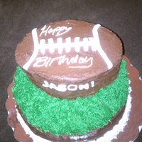 Football Cake Two tiered football cake. Cake is chocolate with white chocolate ganache filling