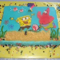 Spongebob Cake (Bct) A half sheet Spongebob Chocolate and French Vanilla Cake with buttercream frosting and filling. All the characters are buttercream...