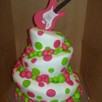 Topsy Turvy Guitar Cake I made this cake for my niece for her 13th birthday :)