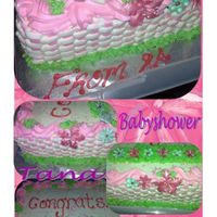 Babyshower   11x15 3 layer cake filled and iced with buttercream dream.