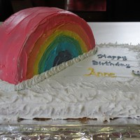 Rainbow My daughter wanted a rainbow cake for her 4th birthday. This is made with boxed cake, and decorated with ziploc bags . The rainbow batter...