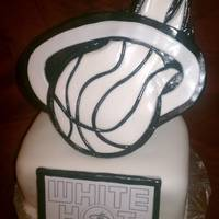 White Hot ! Miami Heat PlayOff Cake