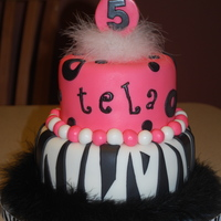 5Th Birthday Cake I did this for a little girl turning 5. Her mom said to do anything pink and black, and VERY girlie. They were so excited when they saw it...