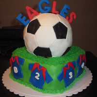 Soccer Party This was a cake for my son's end of the season party. The field is a chocolate cake with cookie and cream filling and the ball is a...