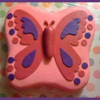 Butterfly Birthday This was actually my first fondant covered cake (that was not done only for practice) and first time carving a shape.White cake carved from...