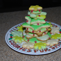 Christmas Cookies  I saw this somewhere and liked it so I thought I'd give it a try. It's meant to look a little like a Christmas tree. The cookies...