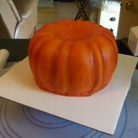 Pumpkin made from 2 bundt cakes