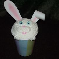 Bunny Escape Cakes made in a cup. Made to look like the Bunny is trying to get out of the cup.