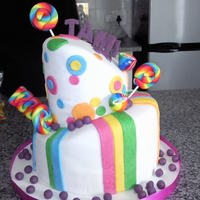 Candy Land Cake Candy Land 21st PartyTopsy Turvy Cake1st time effort on such a big cake