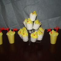 Little Yellow Chicks These lil chicks are made in party cups that my son & I cut to look like cracked eggs. They are lemon cakes 'n a cup with lemon...